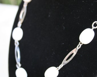 1970s Silver and White Bead Necklace
