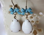 Vintage Jewel Earrings Vintage white Glass Jewels  Turquoise Enamel Bow Charms, Darling