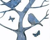 Original Watercolor Painting Art Bird by Lorisworld - Spring