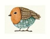 Aceo Watercolor Original Art - BIRD No.9 - Painted by Lorisworld
