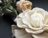 Felt Flower Brooch White Cream Handmade to Order