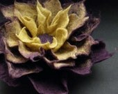 Felt Flowers, Aubergine Olive Green Felt Flower Brooch, Felt Brooch, Felted Flower, Felt Flower, Textile Art, Fiber Art, Floral Jewelry