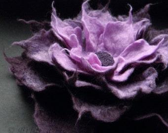 Aubergine Lavender Felt Flower Brooch, Felt Brooch, Felted Flower, Felt Flower, Textile Art, Fiber Art, Floral Jewelry, Felt Corsage