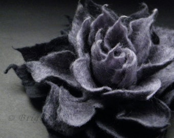 Anthracite Grey Felt Flower Brooch Handmade to Order