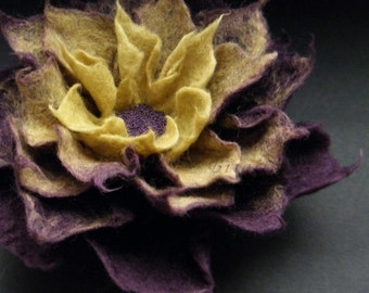 Felt Flowers, Aubergine Olive Green Felt Flower Brooch Made to Order