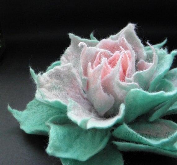Mint and Sweet Rose Felt Flower Brooch Handmade to Order