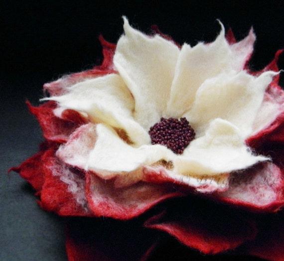 Red Cream Felt Flower Brooch