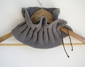 Grey Scarflette - Gray Wool Scarf - Grey Neckwarmer ACCORDEON
