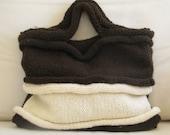 Handknitted Bag - Handbag - White and Brown Chocolate - Free Shipping Etsy
