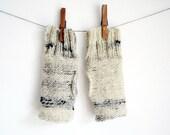 Beige Fingerless mittens - Knitted gloves Beiroa  - wrist warms no2
