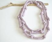 MAuve mist organic cotton knitted necklace - yarn jewelry