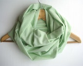 Back to school Green Infinity Scarf - Loop scarf - green cotton cowl - Spring Summer