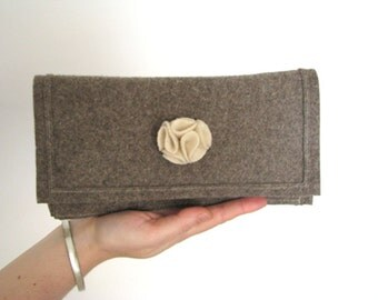 Winter Clutch - light brown felt and a flower Fall Winter Fashion