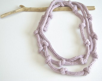 MAuve mist organic cotton knitted necklace - yarn jewelry