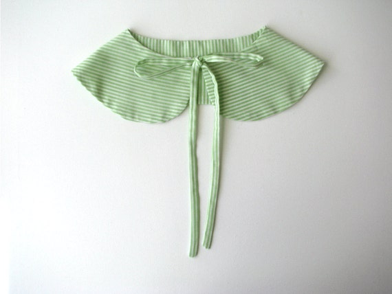 Butterfly collar - Peterpan collar - green and white stripes- Summer Accessories