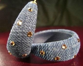 Denim Hoop Earrings- w/Amber Rhinestones