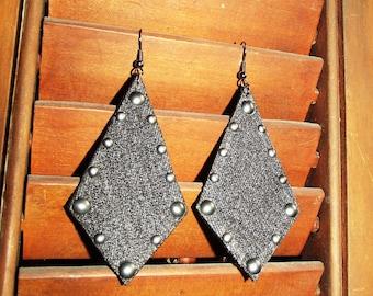 Denim Earrings- Black Denim Arrow Stud Jean Earrings