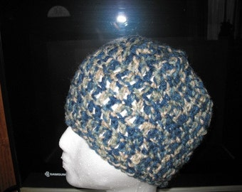 Crocheted skull cap hat in blues and tans