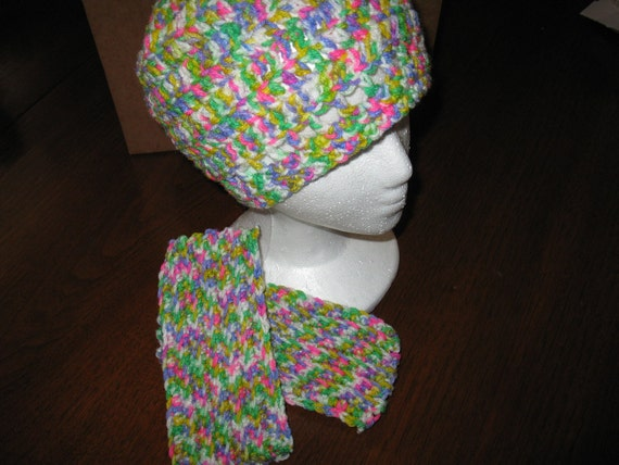 Crochet hat and wrist warmer fingerless gloves - bright almost flourescent colors