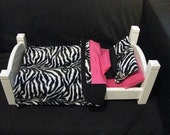 Zebra Black and White with Hot Pink Cloth Doll Bedding and pillows, 7 piece bedding set for American Girl, Waldorf or any Baby Dolls Bed