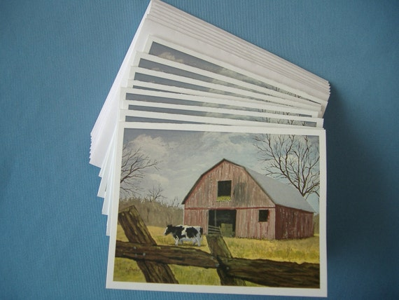 Note cards - Print from original acrylic painting - Cow and Barn - 4 1/4 x 5 1/2 inches