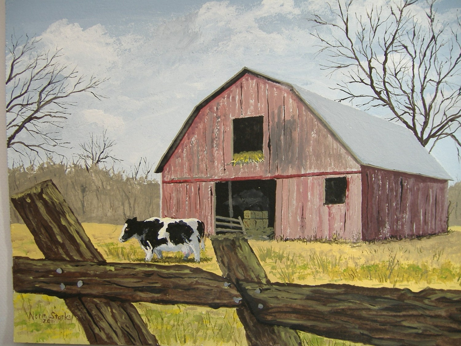 Country Art Original Acrylic Painting Cow And Barn 9 X