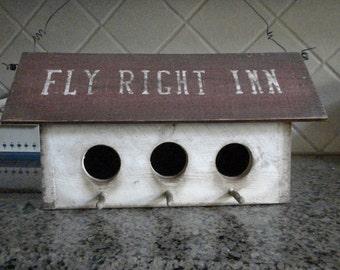Fly Right Inn 3 Hole Country Primitive  Birdhouse