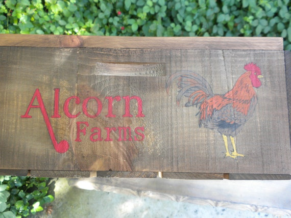 Custom  Made With Your Name Rustic Wood Fruit Box crate with Rooster Perfect for Home Decor, Centerpiece