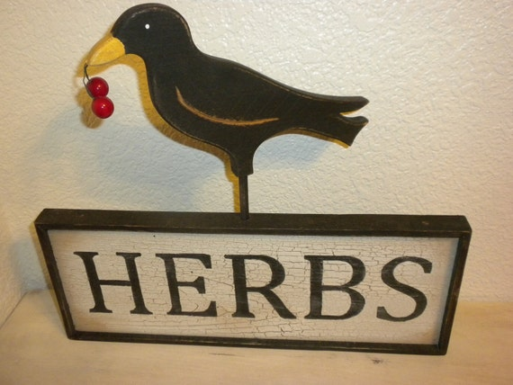 Herbs Crow Country Wood Sign Primitive
