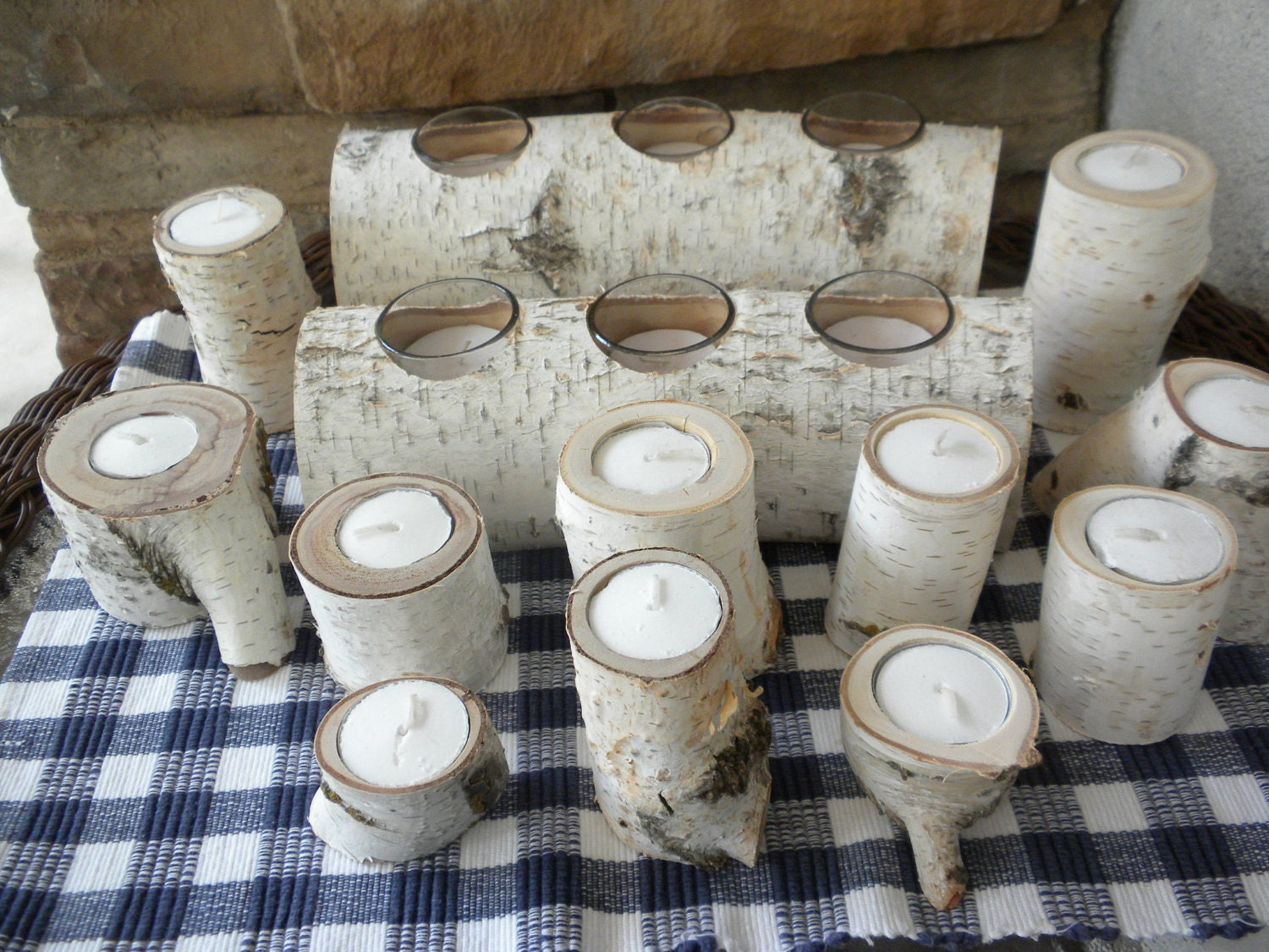 White Birch Candle Holders Perfect For Weddings Centerpieces