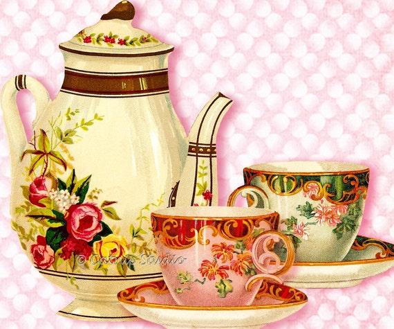items similar to tea time digital collage sheet png files digital download teapots teacups. Black Bedroom Furniture Sets. Home Design Ideas