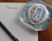 """A--paperweight, vintage embroidered """"A"""" monogram, gift for her, blue and white, office gift"""