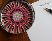 M paperweight, pink flower, desk decor, mod and traditional, vintage embroidered monogram, gift for her