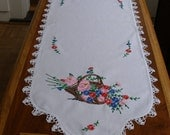 Vintage hand-embroidered table runner, basket of pink, red, blue flowers, circa 1940 -- free shipping
