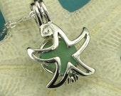 Sea Glass Jewelry Starfish Locket Necklace Aqua