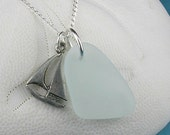 Sea Glass Pendant Necklace Pale Aqua Pewter Sailboat