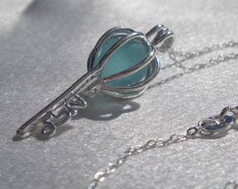 Skeleton Key Necklace Aqua Blue Sea Glass
