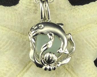 Dolphin Necklace Silver Aqua Sea Glass