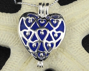 Blue Sea Glass Necklace Heart Locket