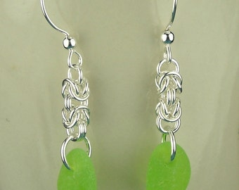 GENUINE Green Sea Glass Earrings Sterling Silver HANDMADE Chainmaille