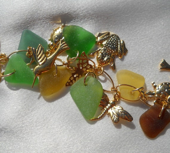 Sea Glass Bracelet Gold Filled With Charms Greens And Browns