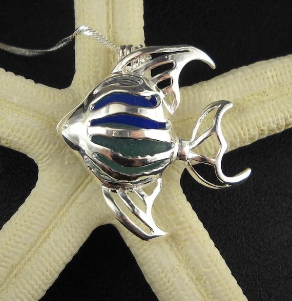 Angel Fish Sea Glass Locket Pendant Necklace Cobalt And Turquiose
