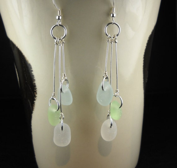 Sea Glass Earrings Trio Mini Pastels Aqua white and Sea Foam Green