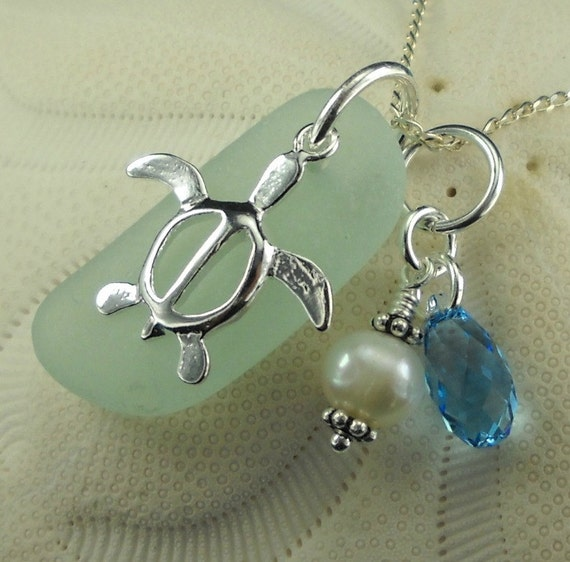Seaglass Turtle Necklace With Pearl And Swarovski Aquamarine Crystal