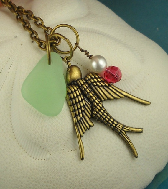 Sea Glass Necklace Antique Brass Bird Pendant