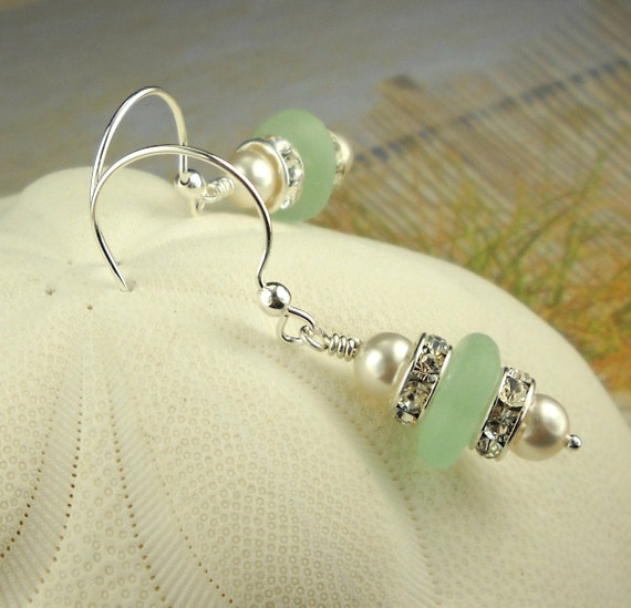 GENUINE Sea Glass Earrings Sterling Silver Sea Foam Aqua