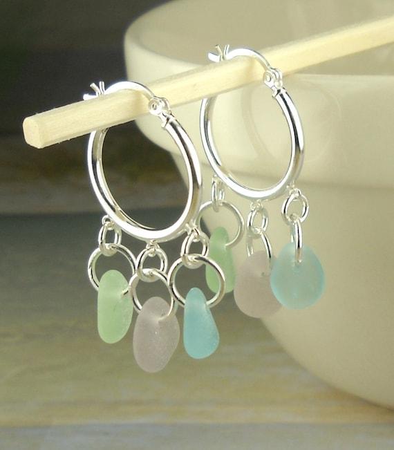 Genuine Sea Glass Earrings Sterling Silver Hoop Earrings With Rare Pastels
