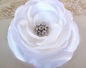 Handmade Large Flower Adorned Rhinestone in Center Hair Accecories with Bobby Pins