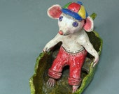 Whimsical Clay Animal Sculpture -  MYERS, the Spirited Little Mouse