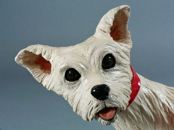 MAGGY with the Waggy Tail - Original Ceramic Dog Sculpture